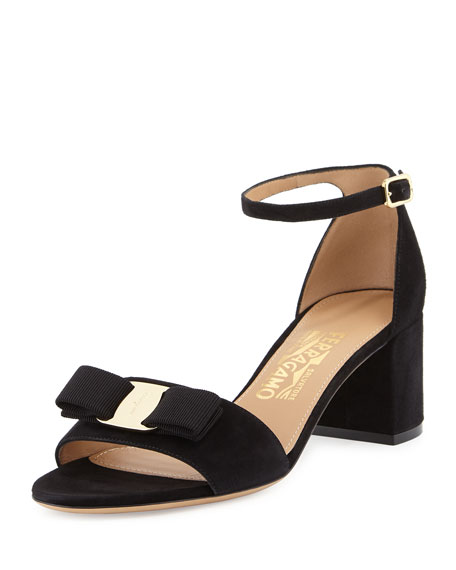 Salvatore Ferragamo Bow Suede City Sandal, Nero