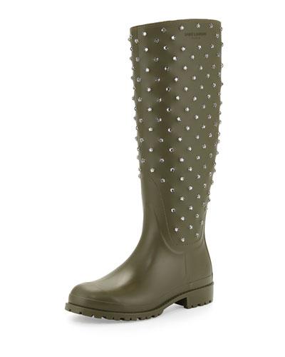 Crystal Rubber Rain Boot, Kaki Fonce
