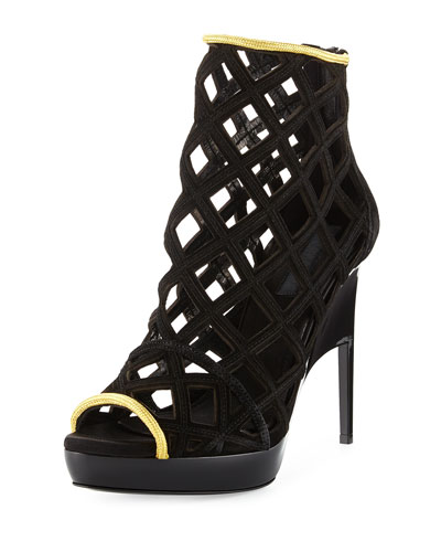 Edenside Caged Runway Sandal, Black
