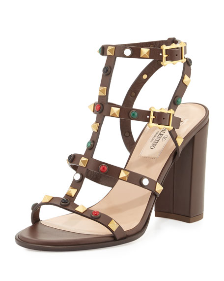 Valentino Leather Rockstud 90mm City Sandal, Cacao/Multi