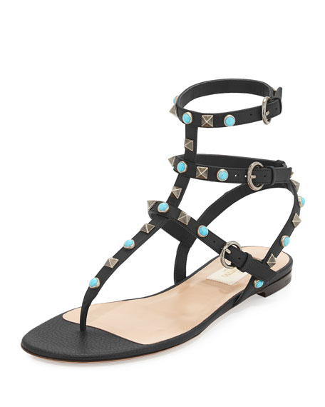 Valentino Rockstud Leather Flat Gladiator Sandal,