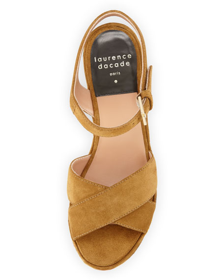 Helissa Embroidered Platform Sandal, Camel