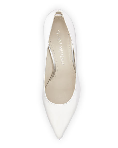 Nouveau Leather Pointed-Toe Pump, White