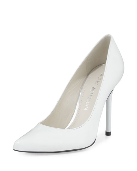 Stuart Weitzman Nouveau Leather Pointed-Toe Pump, White