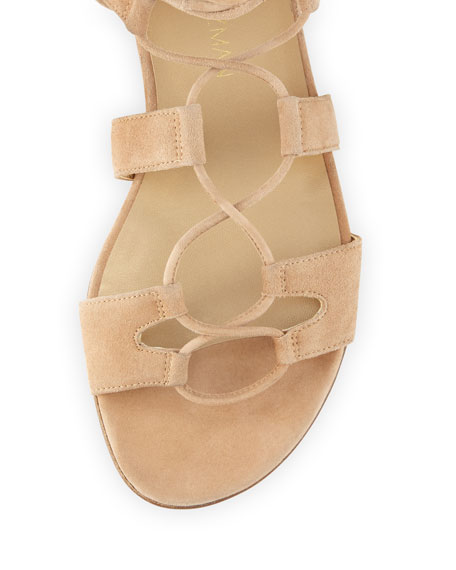 Romanflat Suede Flat Gladiator Sandal, Cashew