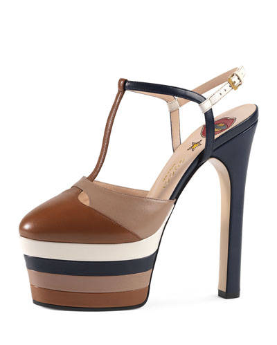 Angel Colorblock Leather Platform Pump, Cuir/Rose/Blue/White
