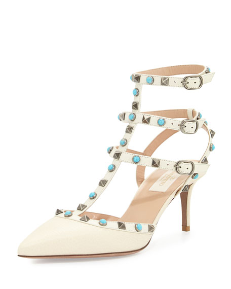 Valentino Rockstud Cabochon Leather 65mm Pump, Light Ivory