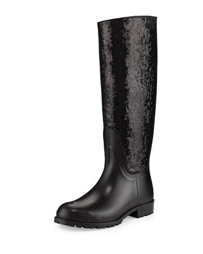 Sequined Rubber Rain Boot, Noir