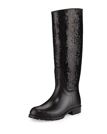 Saint Laurent Sequined Rubber Rain Boot Noir Neiman Marcus