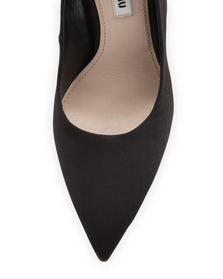 Satin Pointed-Toe Ankle-Wrap Pump, Nero