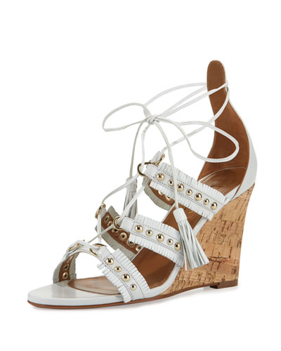 Tulum Studded Fringe Wedge Sandal, White