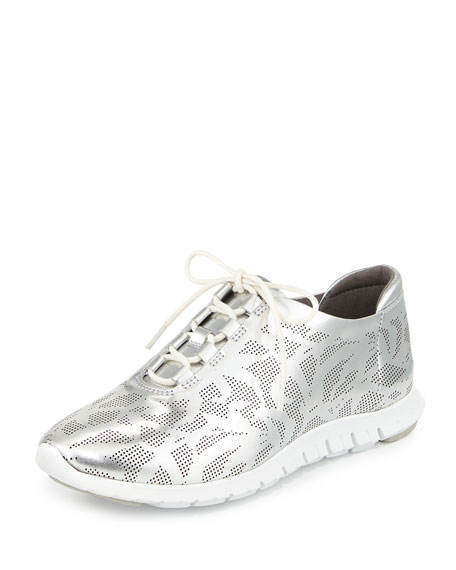 Cole Haan ZeroGrand Perforated Leather Sneaker, Silver