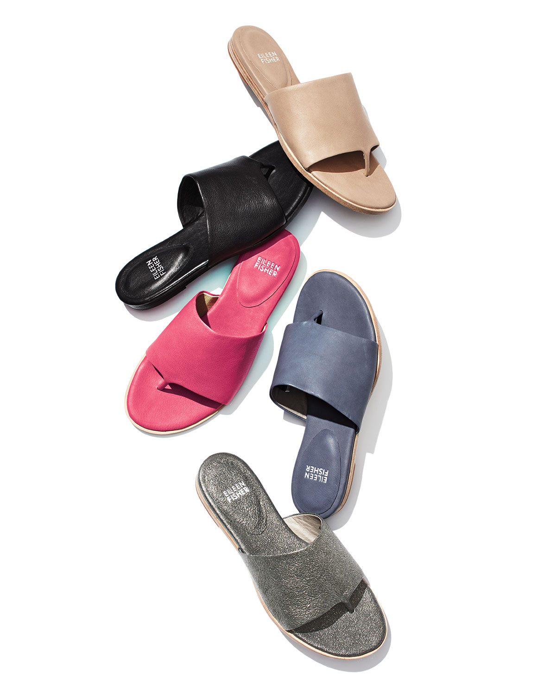 babf0cf91 Eileen Fisher Edge Leather Thong Sandal | Neiman Marcus