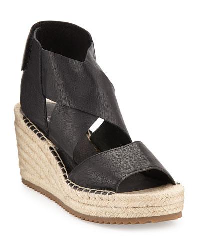 Willow Leather Espadrille Sandal, Black