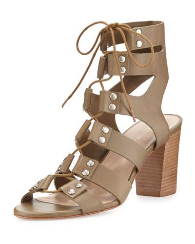 Hana Leather Lace-Up City Sandal, Olive