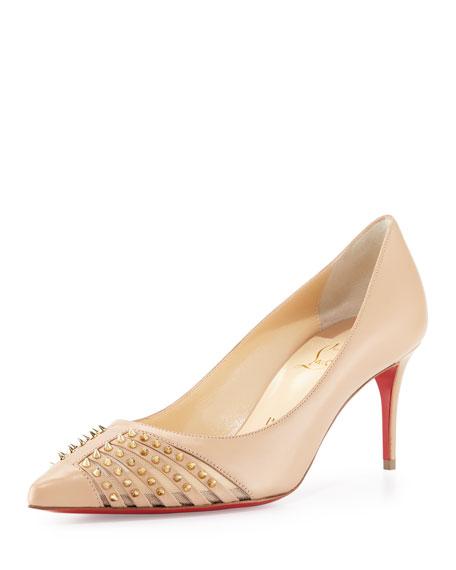 christian louboutin baretta studded low-heel red sole pump