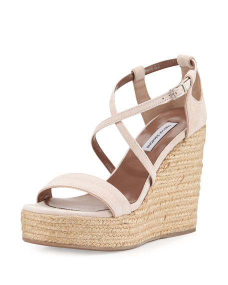 Tabitha Simmons Jenny Suede Espadrille Wedge Sandal, Nude