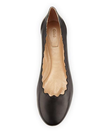 Lauren Scalloped Leather Ballerina Flat, Black