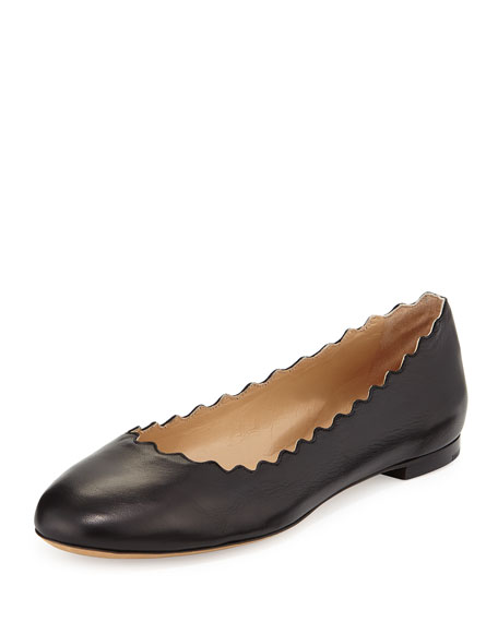 Chloe Lauren Scalloped Leather Ballerina Flat, Black