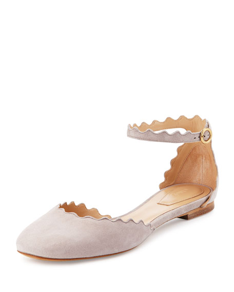 Lauren Scalloped Suede Ankle-Strap Flat, Elephant Gray