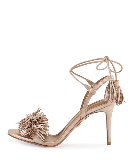 Wild Thing Suede 85mm Sandal, Rose Gold
