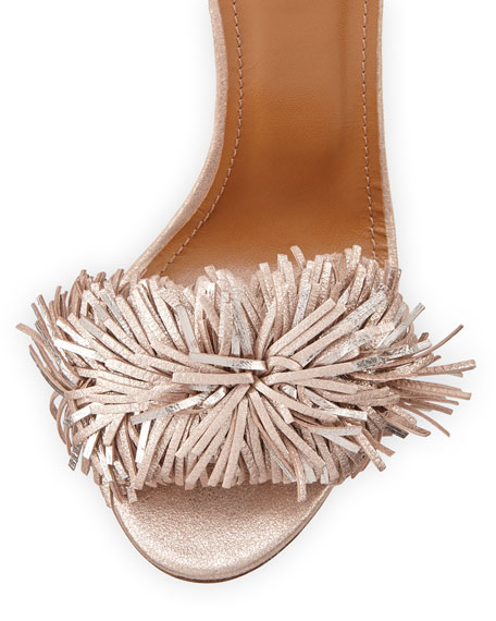 Wild Thing Suede 85mm Sandals, Rose Gold