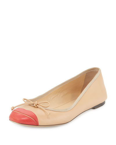 Kiss Me Darcy Leather Flat, Nude/Red