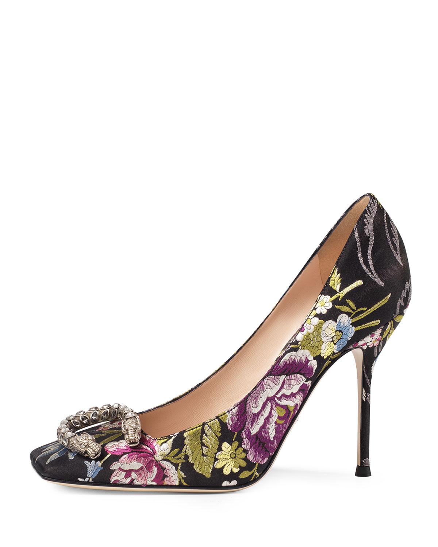 58a23e23b Gucci Dionysus Floral-Jacquard Pump, Multi | Neiman Marcus