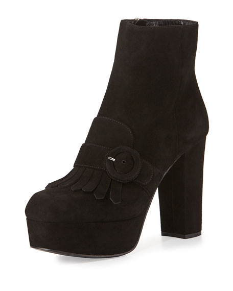 PradaSuede Fringe 110mm Ankle Boot
