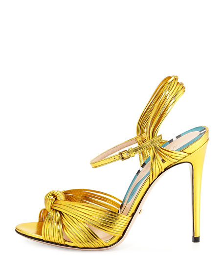 Gucci Allie Knotted Strappy Sandal, Gold