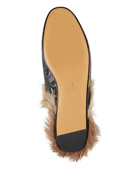 Gucci Princetown Jacquard Fur-Lined Mule, Multi