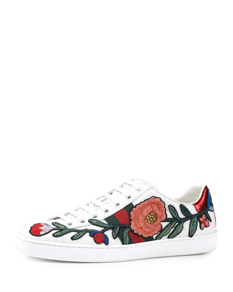 Gucci New Ace Floral-Embroidered Low-Top Sneaker, White/Multi