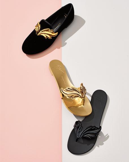 Wings Metallic Flat Thong Sandal