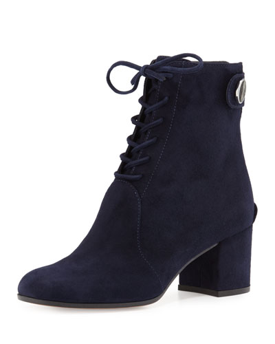 Suede Lace-Up Chunky-Heel Bootie, Denim