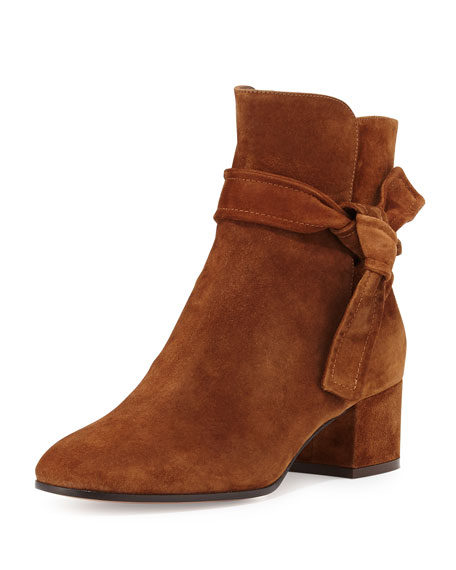Gianvito Rossi Suede Side-Tie 45mm Ankle Boot, Texas