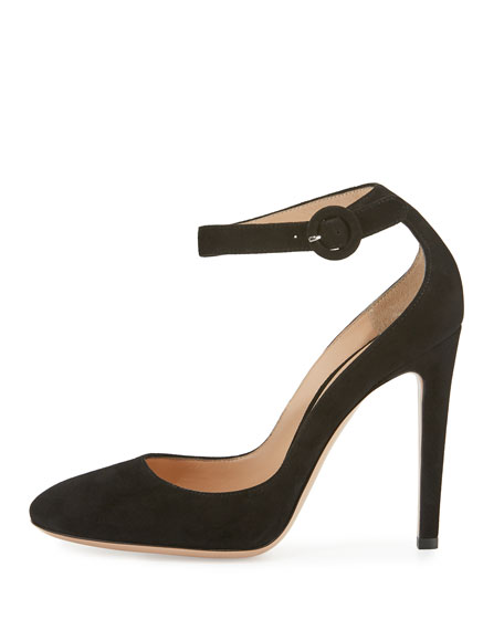 Virna Suede Ankle-Wrap 105mm Pump, Black