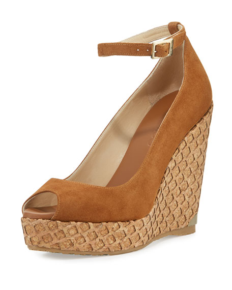 Jimmy Choo Pacific 120mm Peep-Toe Wedge Pump, Canyon