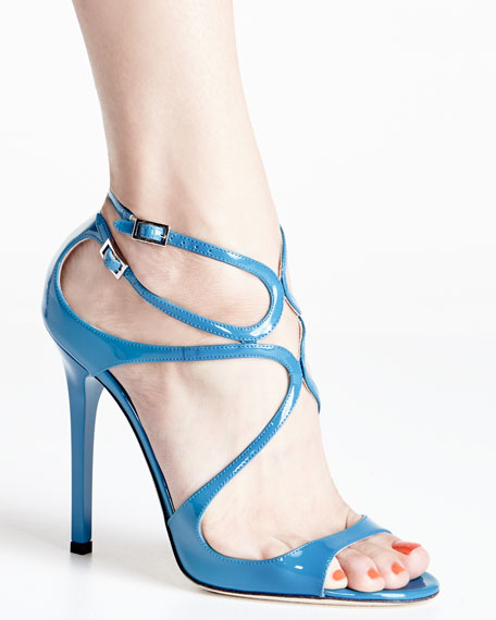 Lang Patent Strappy 100mm Sandal, Robot Blue