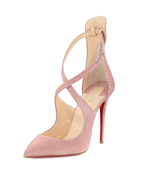 Marlenarock Crisscross Suede Red Sole Pump, Nude