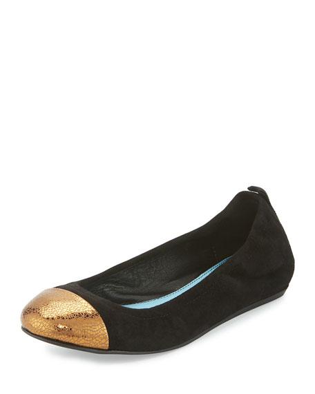 LanvinSuede Cap-Toe Ballerina Flat, Black/Gold