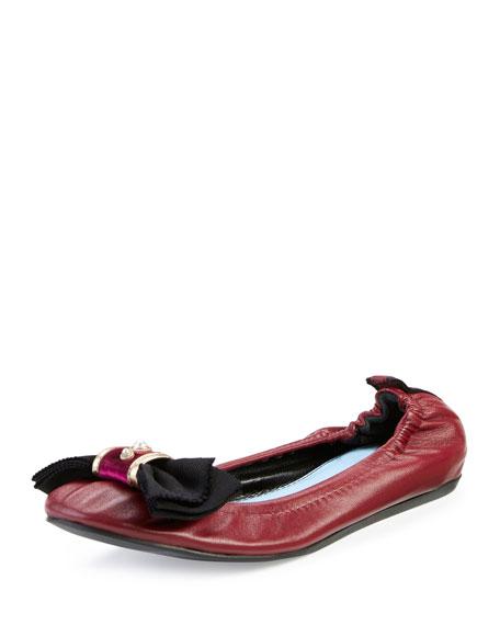 LanvinBow Leather Ballerina Flat, Garnet