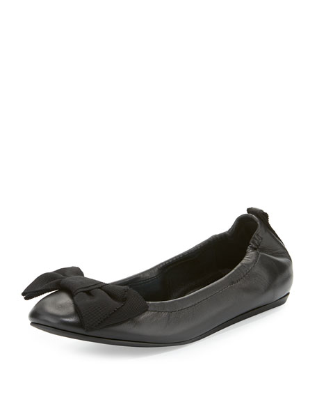 LanvinBow Leather Ballerina Flat, Black