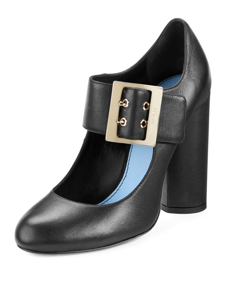 Lanvin Leather Mary Jane 105mm Pump, Black