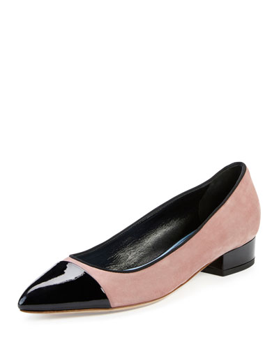 Suede Pointed Cap-Toe Pump, Medium Pink/Black
