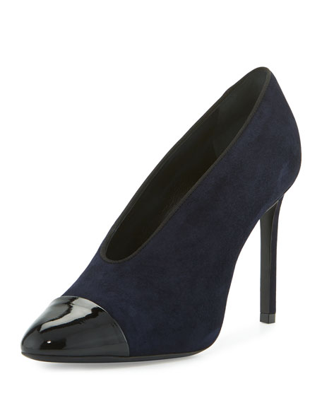 Lanvin Suede Cap-Toe 105mm V-Neck Pump, Dark Blue/Black
