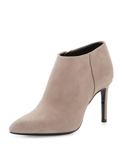 Nubuck Pointed-Toe 85mm Bootie, Gray