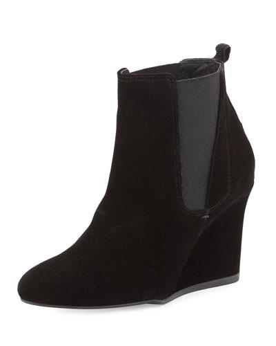 Suede Wedge Chelsea Boot, Black