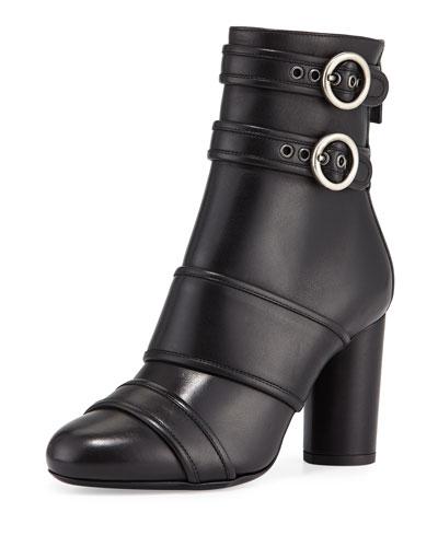 Leather Buckle High-Heel Bootie, Black