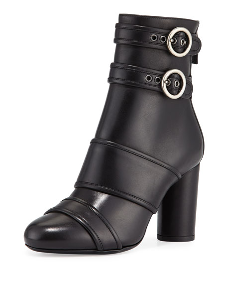 LanvinLeather Buckle High-Heel Bootie, Black
