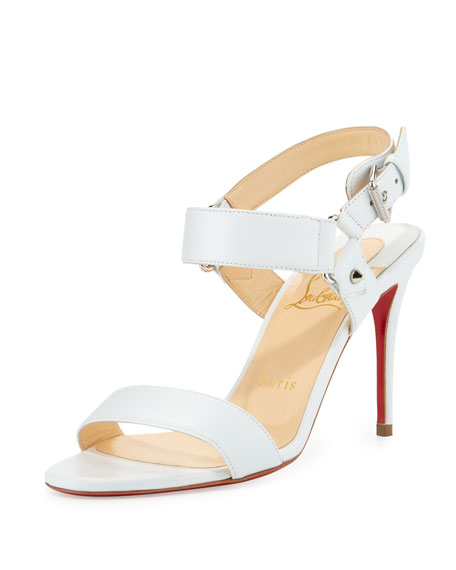 Christian LouboutinSova Leather 85mm Red Sole Sandal, White